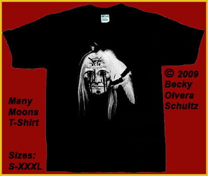 Native American Face Mask Image,Many Moons T-Shirt. &#169 2009 Becky Olvera Schultz