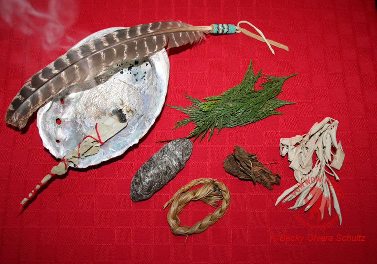 Smudging Items: Abalone Shell, Fan, Sage, Cedar, Sweet Grass, Tobacco & Copal.