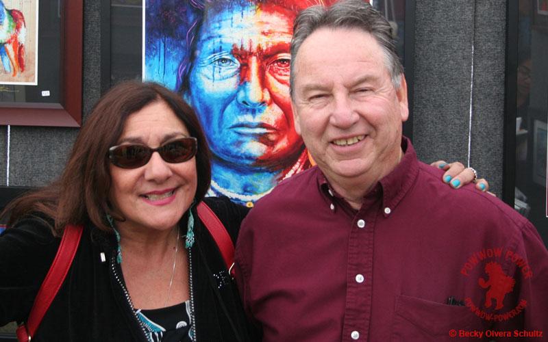 John Balloue with Becky Olvera Schultz, Stanford Powwow 2016