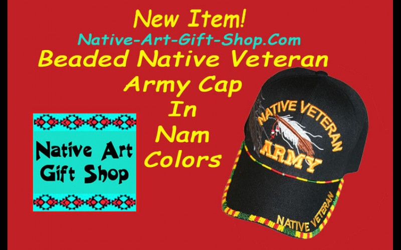 New Beaded Native Veteran Army Cap In Nam Colors
