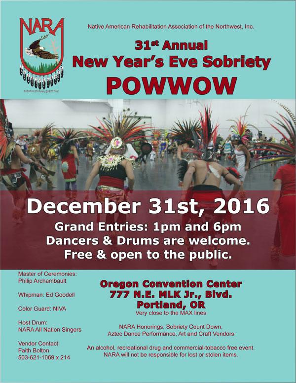31st Annual New Year's Eve Sobriety Powwow-Portland, Oregon